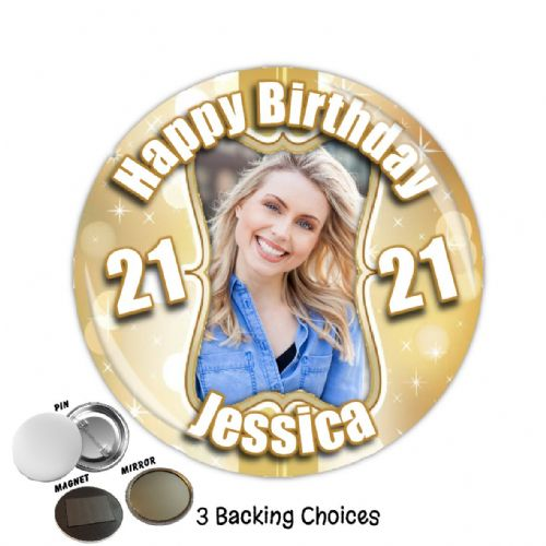 Large 75mm Personalised Gold Sparkle Happy Birthday PHOTO Badge N42